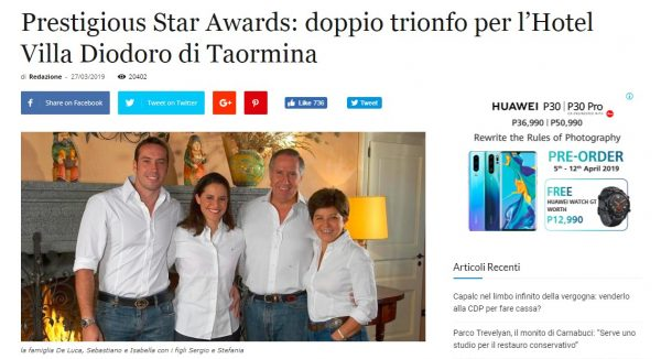 Hotel Villa Diodoro di Taormina, blogtaormina, Prestigious Star Awards 2019, Press Coverage
