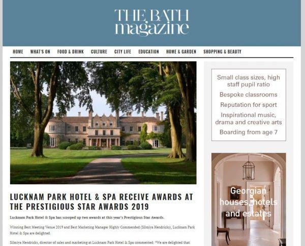 Lucknam Park Hotel and Spa, The Bath Magazine, Prestigious Star Awards 2019, Press Coverage