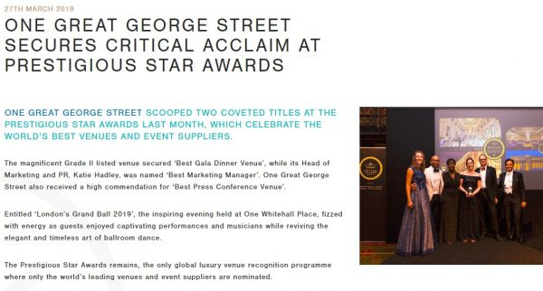 One Great George Street, venues london.co.uk, Prestigious Star Awards 2019, Press Coverage