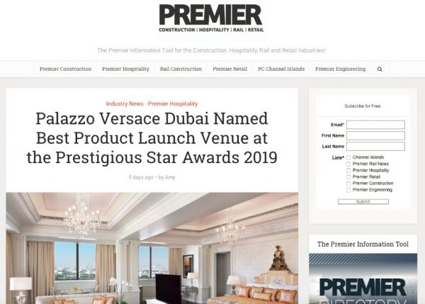 Palazzo Versace Dubai, Premier Construction, Prestigious Star Awards 2019, Press Coverage