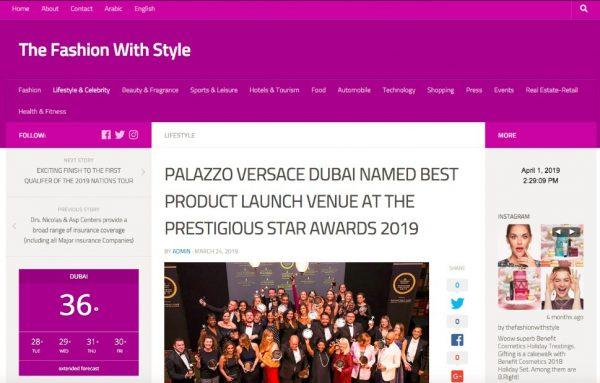 Palazzo Versace Dubai, The Fashion With Style, Prestigious Star Awards 2019, Press Coverage