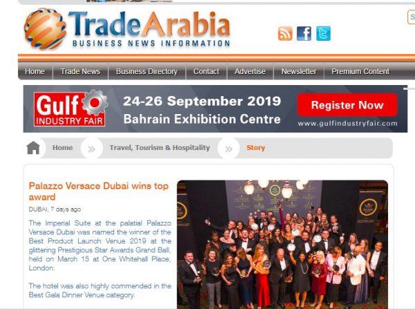 Palazzo Versace Dubai, Trade Arabia, Prestigious Star Awards 2019, Press Coverage