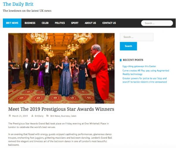 The Grand Ball, The Daily Brit, Prestigious Star Awards 2019, Press Coverage