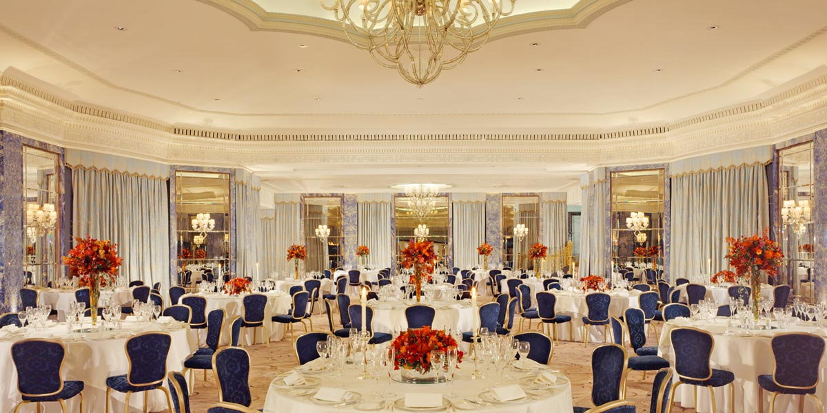 the dorchester ballroom round table dinner set up1